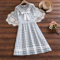 Dress Summer 2021 white S,M,L,XL,2XL longuette singleton  Short sleeve street Admiral middle-waisted lattice Single breasted A-line skirt Lotus leaf sleeve Others 18-24 years old Type A Splicing 81% (inclusive) - 90% (inclusive) knitting cotton navy