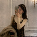 Dress Autumn 2020 brown Average size Mid length dress singleton  Sleeveless commute V-neck Loose waist Broken flowers Socket other camisole 18-24 years old Type H Other / other Korean version 31% (inclusive) - 50% (inclusive) cotton