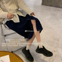 skirt Autumn 2020 S,M,L,XL Blue, black Mid length dress commute High waist A-line skirt Solid color Type A 18-24 years old 31% (inclusive) - 50% (inclusive) Denim Other / other cotton Korean version