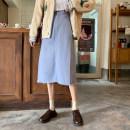 skirt Spring 2021 S,M,L Blue, apricot, green Mid length dress commute High waist A-line skirt Solid color Type A 18-24 years old 71% (inclusive) - 80% (inclusive) Other / other cotton Korean version