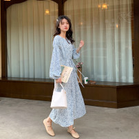 Dress Spring 2021 Navy, light blue Average size longuette singleton  Long sleeves commute other High waist Broken flowers Socket A-line skirt routine Others 18-24 years old Type H Other / other Korean version 31% (inclusive) - 50% (inclusive) Chiffon polyester fiber