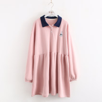 Dress Autumn 2020 Pink, violet Average size Middle-skirt singleton  Long sleeves Polo collar Loose waist Animal design Socket Big swing bishop sleeve Embroidery, buttons, stitching More than 95% cotton