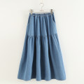 skirt Spring 2021 Average size Light blue, dark blue Mid length dress Sweet Natural waist Strapless skirt Solid color Type A 81% (inclusive) - 90% (inclusive) Denim cotton Splicing Mori