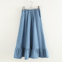 skirt Spring 2021 Average size Light blue, dark blue Mid length dress Sweet Natural waist Ruffle Skirt Solid color Type A 81% (inclusive) - 90% (inclusive) Denim cotton Stitching, ruffles Mori