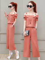 Casual pants Brick red blue black SMLXL Summer of 2018 Ninth pants Wide leg pants High waist commute Thin money 25-29 years old 96% and above TZ8280