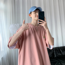T-shirt Youth fashion White, pink routine M. L, XL, 2XL, 3XL, s small, XS plus small Others Short sleeve Crew neck easy daily summer Cotton 100% teenagers Basic public 2021 Plants and flowers cotton More than 95%