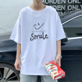 T-shirt Youth fashion White, black, sky blue, fruit green, green routine S. M, l, XL, 2XL, 3XL, XS plus small Others elbow sleeve Crew neck easy daily summer Cotton 100% teenagers Off shoulder sleeve tide Cotton wool 2021 Alphanumeric printing cotton The thought of writing No iron treatment