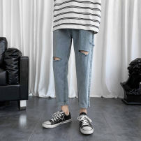 Jeans Youth fashion Others M. L, XL, 2XL, s small, XS plus small blue routine No bullet Regular denim Ninth pants Other leisure Four seasons teenagers Medium low back Fitting straight tube like a breath of fresh air 2020 Little straight foot zipper cotton