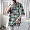T-shirt other Green stripe, Grey Stripe, apricot stripe routine M. L, XL, 2XL, 3XL, s small, XS plus small Others Short sleeve Crew neck easy Other leisure Four seasons Other 100% teenagers Off shoulder sleeve tide other 2021 Solid color printing other other No iron treatment