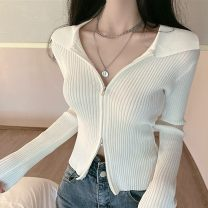 Wool knitwear Spring 2021 Average size White, blue, black, vest Long sleeves singleton  Cardigan other 30% and below have cash less than that is registered in the accounts commute Self cultivation Polo collar Solid color zipper Korean version 18-24 years old