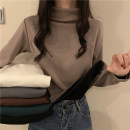T-shirt Khaki, gray, white, green, black, coffee, 5927 Plush White Stripe Average size Autumn 2020 Long sleeves Half high collar routine commute other 30% and below 18-24 years old Korean version youth Solid color