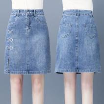 skirt Summer 2021 S/26 M/27 L/28 XL/29 XXL/30 3XL/31 blue Short skirt Versatile High waist Denim skirt Solid color Type A 91% (inclusive) - 95% (inclusive) Denim Filiform flower cotton Pocket button zipper Cotton 93.8% polyester 5.3% polyurethane elastic fiber (spandex) 0.9%