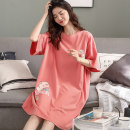Nightdress Miow / cat man Sweet Short sleeve pajamas Middle-skirt summer lattice youth Crew neck cotton printing More than 95% pure cotton 200g and below