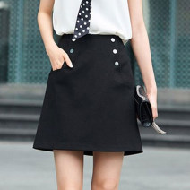 skirt Autumn of 2019 1/XS,2/S,3/M,4/L,5/XL black Short skirt commute Natural waist A-line skirt Solid color Type A 31% (inclusive) - 50% (inclusive) other Novel goldette other Button Korean version