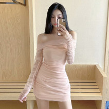 Dress Autumn 2020 Pink Purple S M Short skirt singleton  Long sleeves Sweet One word collar High waist Solid color Socket A-line skirt routine Others 18-24 years old Type A Qiansha'er Open back pleated gauze 0F9750 More than 95% other Other 100% Ruili Pure e-commerce (online only)