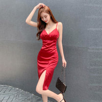 Dress Summer 2020 Red, black, white S M L Middle-skirt singleton  Sleeveless Sweet V-neck High waist Solid color Socket A-line skirt other camisole 18-24 years old Type A Qiansha'er Open back fold and fork 0J6913 More than 95% other Other 100% Ruili Pure e-commerce (online only)