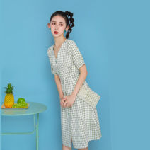 Dress Summer 2021 Green lattice S,M,L,XL Mid length dress singleton  Short sleeve commute V-neck High waist lattice Single breasted A-line skirt Others 18-24 years old Type A Retro Button 51% (inclusive) - 70% (inclusive)