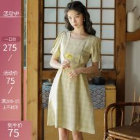 Dress Summer 2021 Picture color S,M,L,XL Mid length dress singleton  Short sleeve commute One word collar middle-waisted lattice zipper Others 18-24 years old Type A Retro 51% (inclusive) - 70% (inclusive)