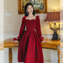 Dress Autumn 2020 S,M,L,XL Mid length dress singleton  Long sleeves commute square neck High waist Solid color zipper A-line skirt other Others 18-24 years old Type A Retro 31% (inclusive) - 50% (inclusive)