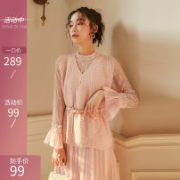 Dress Winter of 2019 Pink (with belt) S,M,L,XL Mid length dress Two piece set Nine point sleeve Sweet Crew neck High waist Solid color Socket Big swing pagoda sleeve Others 18-24 years old Type A Stitching, zipper, lace, 3D 51% (inclusive) - 70% (inclusive) knitting polyester fiber princess