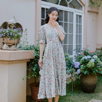 Dress Summer 2021 Decor S,M,L Mid length dress singleton  elbow sleeve commute V-neck High waist Decor Socket bishop sleeve Others 18-24 years old Type A Retro 51% (inclusive) - 70% (inclusive)