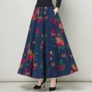 skirt Spring 2021 S. M, l, XL, 2XL, custom size longuette Versatile High waist A-line skirt Decor Type A 31% (inclusive) - 50% (inclusive) brocade hemp Ruffles, prints, pockets