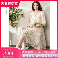 Dress Spring 2021 Beige S M L XL Mid length dress Two piece set three quarter sleeve street V-neck Loose waist Solid color Socket A-line skirt routine 30-34 years old Type A Fewjessie / fajiexi Embroidered lace up More than 95% silk Mulberry silk 100% Pure e-commerce (online only) Europe and America