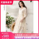Dress Spring 2021 Beige S M L XL Mid length dress Two piece set three quarter sleeve street V-neck Loose waist Solid color Socket A-line skirt routine 30-34 years old Type A Fewjessie / fajiexi Pleated embroidery lace with lace stitching More than 95% silk Mulberry silk 100% Europe and America