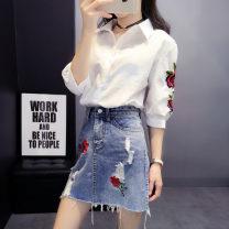 skirt Summer 2021 S,M,L,XL,XXL Shirt + denim blue skirt, shirt + denim black skirt, single shirt, single skirt [blue], single skirt [black] Short skirt commute High waist Denim skirt Decor Type A 18-24 years old 81% (inclusive) - 90% (inclusive) Denim Other / other other Embroidery Korean version