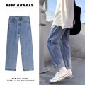 Jeans Youth fashion Others S,M,L,XL,2XL Sapphire blue, light blue routine No bullet Regular denim trousers Other leisure Cotton 100% Four seasons teenagers Medium low back Loose straight tube Exquisite Korean style 2020 Straight foot washing Wash with water, no iron treatment cotton