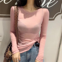 T-shirt S,M,L Autumn of 2019 Long sleeves Crew neck Self cultivation Regular routine commute cotton 71% (inclusive) - 85% (inclusive) 25-29 years old Korean version Solid color