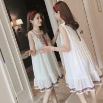 Dress Other / other white M,L,XL,XXL Korean version Sleeveless Medium length summer V-neck Chiffon