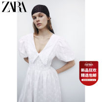 Dress Spring 2021 Ground white S (165/84A) M (170/88A) L (175/96A) Mid length dress singleton  Short sleeve Sweet V-neck middle-waisted Solid color Socket routine 25-29 years old Type A ZARA 01930303251-30 51% (inclusive) - 70% (inclusive) cotton Cotton 59% polyester 41% Ruili