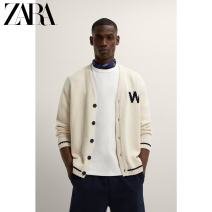 T-shirt / sweater ZARA Fashion City Ground white M (180/96A) L (180/100A) XL (185/104A) routine Cardigan V-neck Long sleeves 03332422251-30 spring and autumn easy 2021 Cotton 100% leisure time Simplicity in Europe and America youth routine Solid color Summer 2021 washing Pure cotton (95% above)