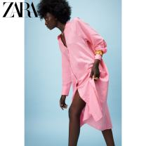 Dress Summer 2021 Pink XS (160/80A) S (165/84A) M (170/88A) L (175/96A) XL (175/100A) XXL (180/108A) Mid length dress singleton  Long sleeves Sweet V-neck Solid color Single breasted 25-29 years old Type A ZARA 51% (inclusive) - 70% (inclusive) hemp Flax 60% cotton 40% Ruili