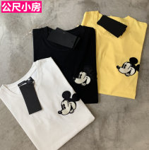 T-shirt Black, white, light yellow S,M,L Spring 2021 Long sleeves Crew neck easy Regular routine street cotton 96% and above Cartoon animation