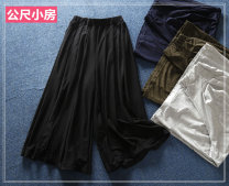 Casual pants Dark blue, army green, light gray, black [small hole in trouser leg] Average size Summer of 2018 Ninth pants Wide leg pants Natural waist Thin money 51% (inclusive) - 70% (inclusive) Meter small house Cotton blended fabric fold cotton