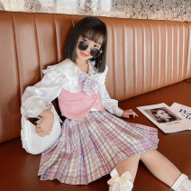 suit Princess Yuanyuan Pink (top + bow tie + skirt) The recommended height is about 100-110cm for Size 110, 110-120cm for Size 120, 120-130cm for Size 130, 130-140cm for size 140, 140-150cm for size 150 and 150-160cm for size 160 female spring and autumn college Long sleeve + skirt 3 pieces routine