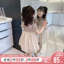 Dress khaki female Princess Yuanyuan The recommended height is about 100-110cm for Size 110, 110-120cm for Size 120, 120-130cm for Size 130, 130-140cm for size 140, 140-150cm for size 150 and 150-160cm for size 160 Polyamide fiber (nylon) 52% cotton 48% summer Korean version Short sleeve other