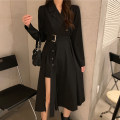Dress Autumn 2020 black S,M,L Mid length dress singleton  Long sleeves commute V-neck High waist A-line skirt routine 18-24 years old Korean version 8/16