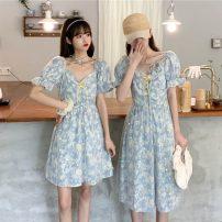 Dress Summer 2021 Blue short, blue long S, M singleton  Short sleeve Sweet High waist Socket 18-24 years old Type A 4-8 solar system