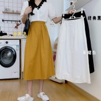 skirt Summer 2021 Average size Ginger, white, black Mid length dress commute High waist A-line skirt Solid color Type A 18-24 years old 4-8 Korean version