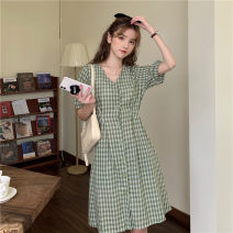 Dress Summer 2020 Red, green, yellow, pink Average size Mid length dress singleton  Short sleeve commute V-neck Loose waist lattice Single breasted A-line skirt other Others 18-24 years old Type X Korean version Bandage 4-25 other