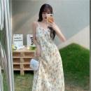 Dress Summer 2021 Apricot flower, apricot flower, apricot flower, blue flower Average size Mid length dress singleton  Sleeveless commute Decor Socket camisole 18-24 years old Type A Korean version 4/3