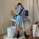 Dress Spring 2021 White, blue S code, M code, l code Short skirt singleton  Short sleeve Sweet 18-24 years old Type A 3/9 solar system