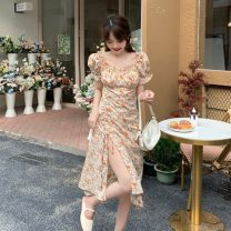 Dress singleton  Summer 2021 Short sleeve Medium length skirt commute square neck 18-24 years old Condom Korean version Broken flower puff sleeve A-line skirt High waist Type A Other other 30% and below Pleating 5-11 other S,M,L