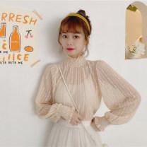Lace / Chiffon Autumn 2020 Apricot, white, black Average size Long sleeves commute Socket singleton  Regular High collar 18-24 years old 1/25 Korean version