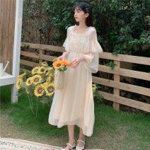 Dress Spring 2021 white Average size longuette singleton  Long sleeves commute High waist Princess Dress 18-24 years old Type A Korean version 2*28