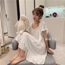 Nightdress Other / other White, pink Average size Sweet Short sleeve Leisure home Short skirt spring Solid color youth