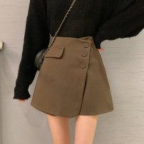 skirt Autumn 2020 S,M,L Khaki, black Short skirt commute High waist Type A 18-24 years old eight point one six 30% and below Korean version